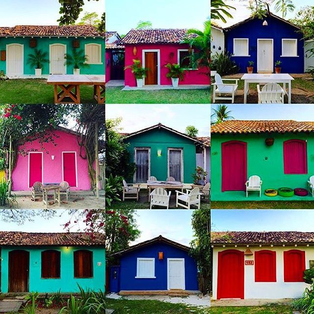 Which one is your favorite? As casinhas do Quadrado #Cores #Maravilhosas #Bahia #Brazil #Trancoso #Quadrado #Travel #SouthAmerica #Tropical #Paraiso ph @canvastravelco