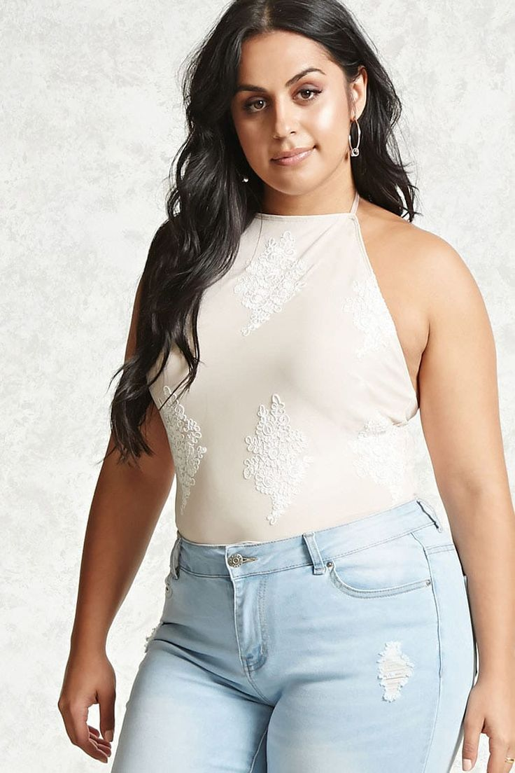 Forever 21+ - A fully lined mesh knit bodysuit featuring allover doily embroidery and top stitching, a self-tie halter with a high neck, sleeveless cut, and a snap-button closure.