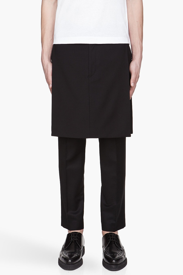 GIVENCHY Black fine wool skirt panels
