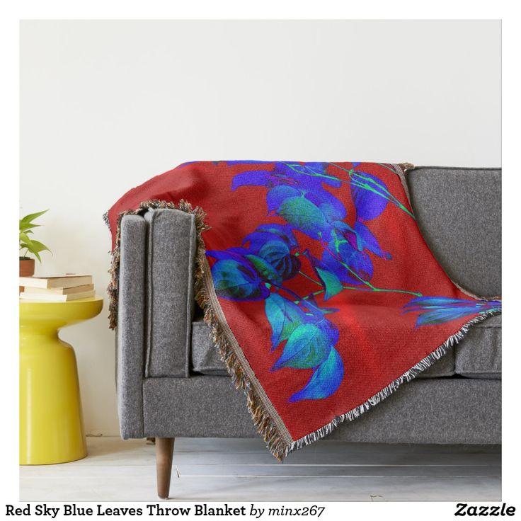 Red Sky Blue Leaves Throw Blanket