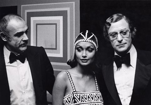 Sean Connery, Michael Caine and his beautiful wife Shakira. 1975.