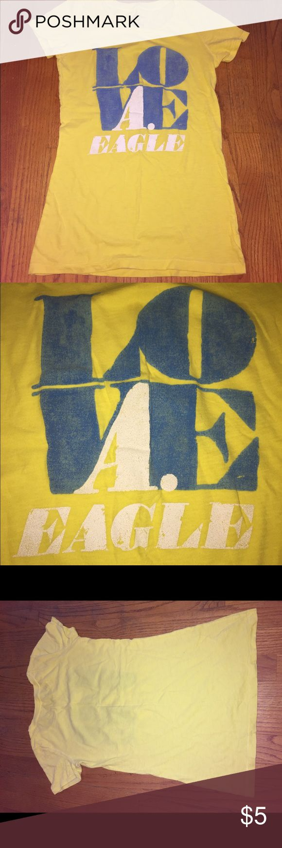 American Eagle Tshirt Size Small American Eagle Tshirt  Size Small  Great pre-owned condition  No flaws All my items come from a smoke and pet free home Thanks for looking and please feel free to contact me with any questions you might have American Eagle Outfitters Tops Tees - Short Sleeve