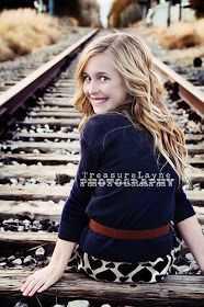 Little girl on railroad tracks pose-TreasureLayne Photography: Children