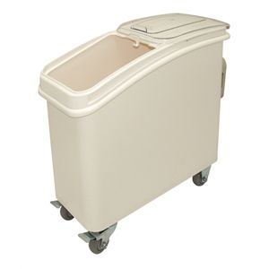 102Ltr $239.90 Nisbets Polypropylene ingredient bins with clear sliding lids for easy access. Moves easily because of fitted castors. Polycarbonate scoop included.