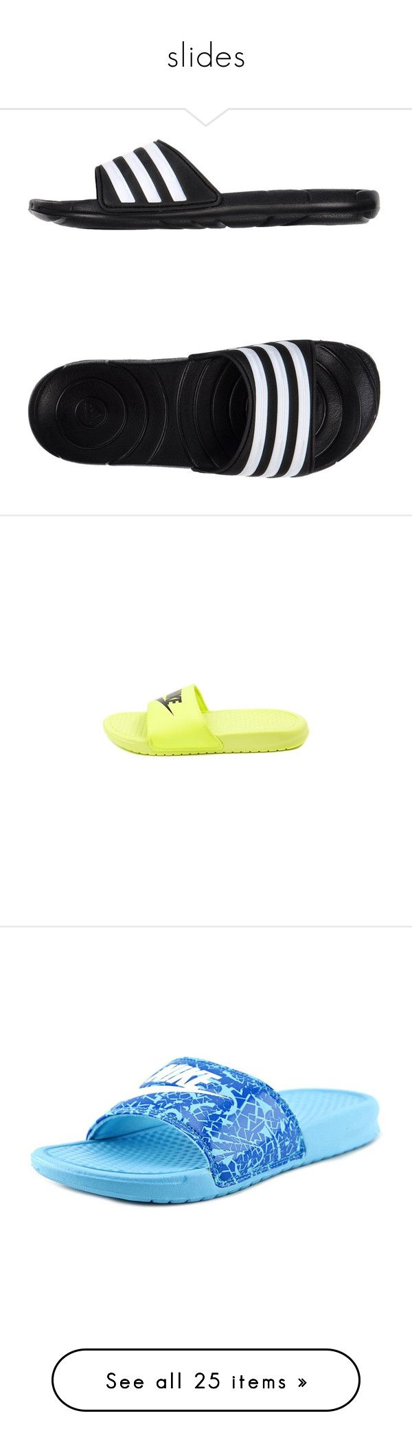 """""""slides"""" by nnenna21 ❤ liked on Polyvore featuring shoes, sandals, black, rubber sandals, striped shoes, flat sandals, black rubber shoes, rubber shoes, nike and shoes."""