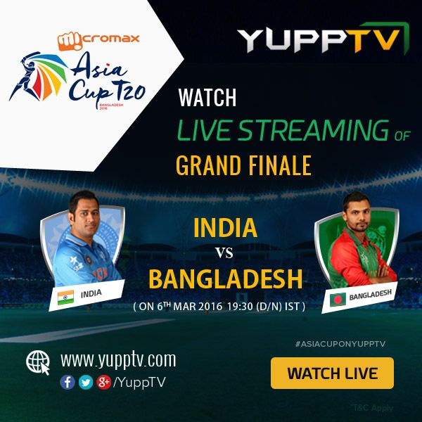 #INDvsBAN: No one wants to miss the most colorful rivalry, India vs Bangladesh Micromax Asia Cup T20 Final match today...stay tuned with #YuppTV to witness this victory #AsiaCupOnYuppTV #AsiaCupFinals @ http://www.yupptv.com/cricket/asiacup.html
