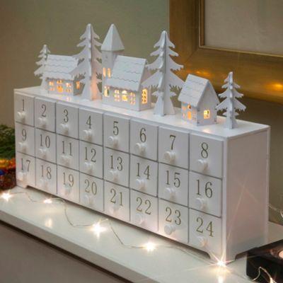 Noma Wooden light-up Christmas advent calendar- at Debenhams.ie