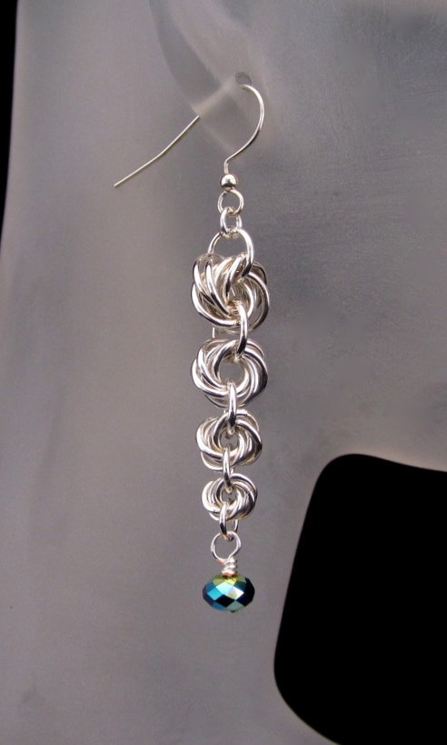 Chainmaille Silver Graduated Rosette Earrings by CaptiveRingz, $23.00