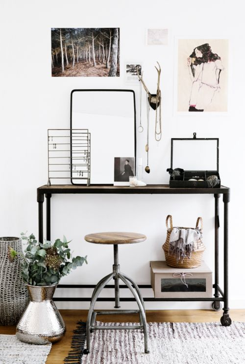 Chic Vintage Minimalist Modern Workspace | Horns | Industrial Metal Design | Office Decor | Home Decor | Table and Stool | Display | Woven Rug | Antique | Business