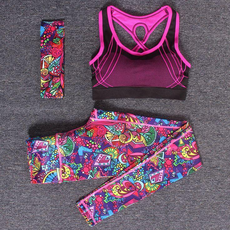 Mujeres yoga fitness deportes sets chalecos de entrenamiento de la gimnasia deportiva 3 unids/set venda + bra top + pantalones flacos impresos pantalones elasticidad traje de deporte