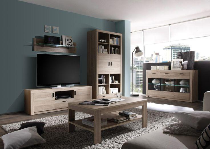 Moderní obývací stěna s mnoha různorodými komponenty poskytuje dostatek úložného prostoru. Příjemný dekor LTD materiálu v odstínu dub sonoma prosvětlí pokoj.