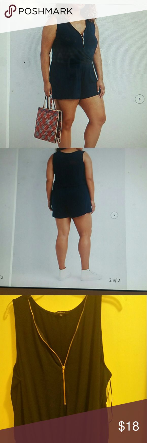 """Plus size zip-up sleeveless navy blue romper This romper zips up in front to create a V-neck line, the shorts has a covered elastic waistband. Romper measures approximately 35"""" long, 19"""" at hip laying flat with a 3"""" inseam shorts from elastc waist 14"""" long Shorts"""