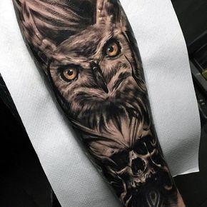 50 Owl Skull Tattoo Designs For Men