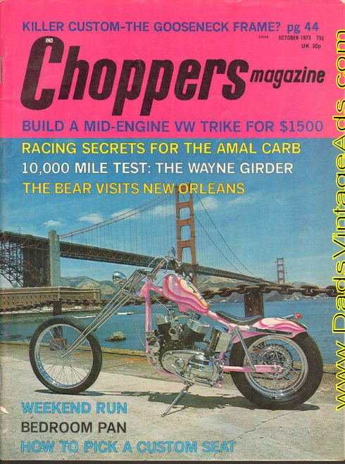 Cover: Mike Berwick's K-model Sportster Phunky; Feature Chops: Mike Berwick's K-model Sportster Phunky - San Phrancisco detailing for a phlathead; Bedroom Pan; A Clean Machine; Built for the Eye; Tech: Chop Talk; Build a mid-engine VW Trike for $1500; Basic Chopping part 8 - seats; Racing S