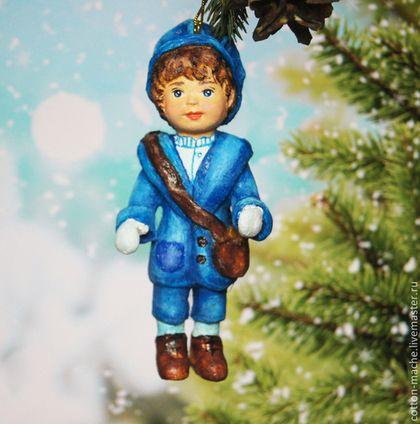 """Ватная елочная игрушка """"Маленький Джентльмен"""" - синий,ватная игрушка"""
