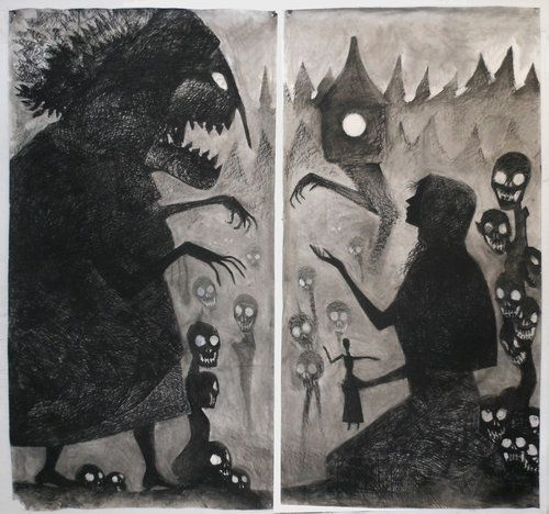 """Baba Yaga and Vasilisa Diptych""  Milo Neuman #illustration #drawing #dark"