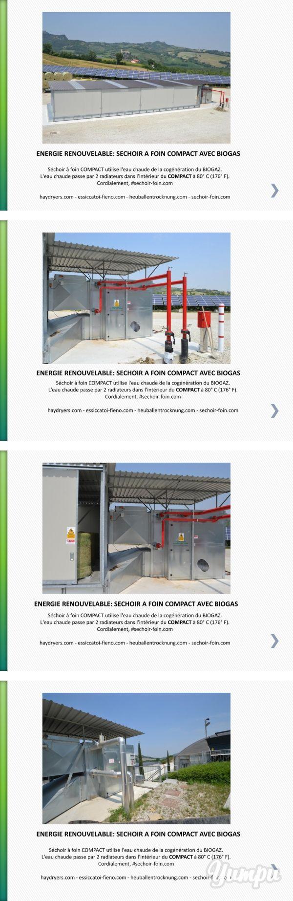 ENERGIE RENOUVELABLE: SECHOIR A FOIN COMPACT AVEC BIOGAS - Magazine with 9 pages:  Séchoir à foin COMPACT utilise l'eau chaude de la cogénération du BIOGAZ. L'eau chaude passe par 2 radiateurs dans l'intérieur duCOMPACTà 80° C (176° F).  Cordialement, #sechoir-foin.com   haydryers.com - essiccatoi-fieno.com - heuballentrocknung.com - sechoir-foin.com