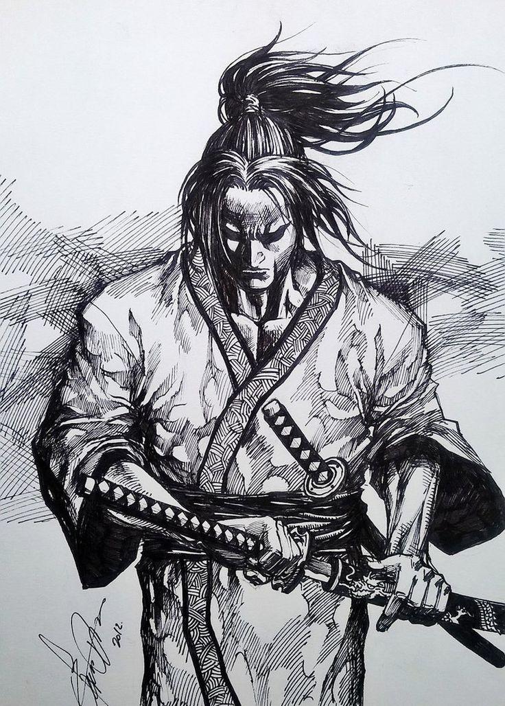 самурай арты карандашом можно оставить камере