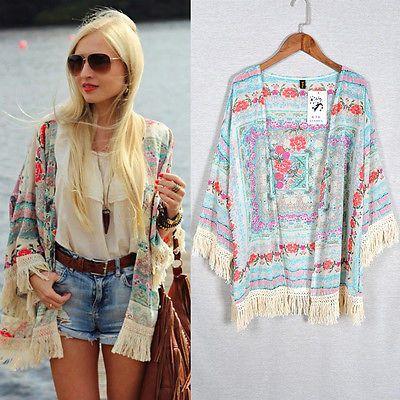 Summer Women Vintage Floral Loose Shawl Kimono Cardigan Boho Chiffon Coat Jacket Blouse