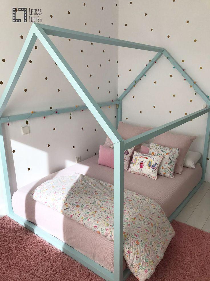 Cama Casita madera en mint - Fabricación artesanal - Personalizada - Cama Montessori 135x200