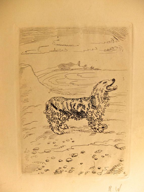 Antique lithograph / dog / Paris 1940s / vintage by 1001Artforms