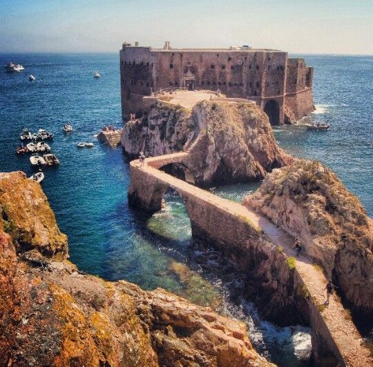 The Fort of São João Baptista das Berlengas, Portugal. The fort is located in the waters off the southeastern coast of Berlenga Grande, on a small islet connected to the island by a causeway/arch-bridge and anchorage to the north. The fortification belonged to a group of defensive military structures meant to protect the municipality located on the coast. Photo by nunoesperanco (Instagram)