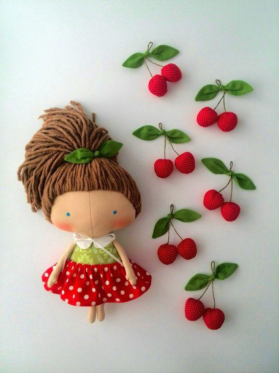 Daughter gift-Tilda doll cherry-Rag doll-Gift-Summer gifts-Doll for girls-Dolls-Red dress-Handmade doll-Girl toys-Fabric doll-Lovely doll