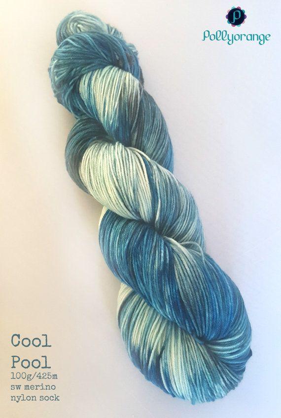 Cool Pool hand dyed superwash merino nylon sock by Pollyorange