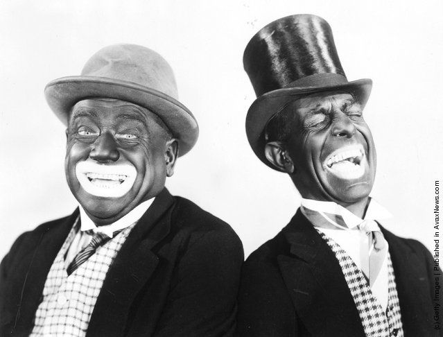 1931: Minstrel show performers Alexander and Mose. This image shows the outlandish makeup of blackface, and how minstrelsy was a sort of white parody on black culture.
