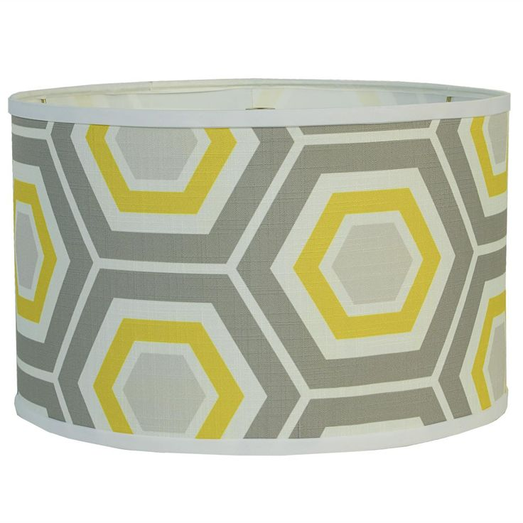 "16"" Retro Honeycomb Drum Shade - Grey & Yellow  A honeycomb design on linen in today's fashion colors will jazz up your space instantly! Drum shade trimed in soft white. Made in America! (16""x16""x10.5"")    Product SKU: LS10106 GN  Price:  $79.00"