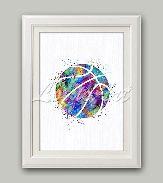 Basketball Watercolor Art Print Sports Poster Home Decor Girl's Room Decor Basketball Poster Sports Wall Art Nursery Decor