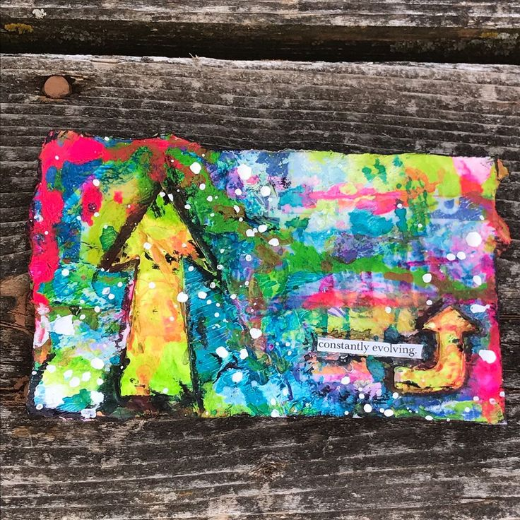 Day 3 #dyicad2017 unedited photos and no filters...taken outside on my deck just now....no hocus pocus....this one is that colorful! ☺️❤️ #ICAD #icad2017 #indexcardaday #mixedmedia #foundword #artheals