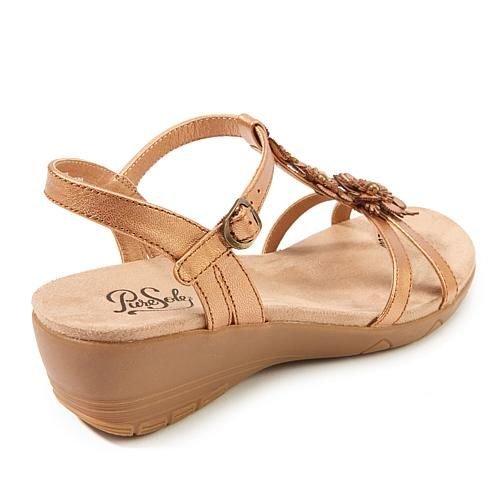 PureSole™ Harper Leather Floral T-Strap Sandal - Metallic