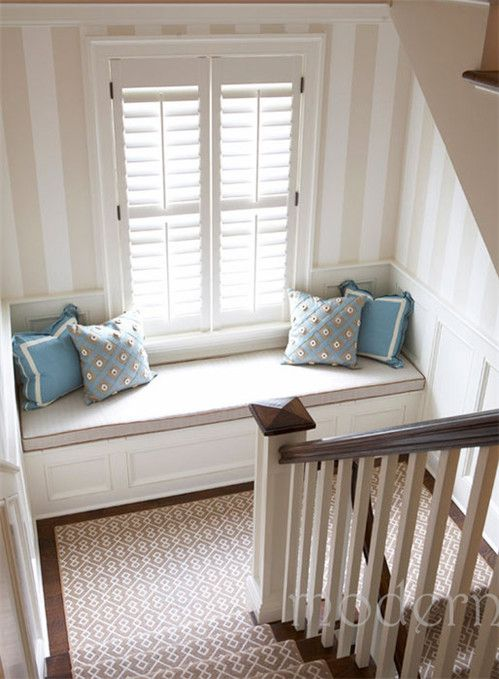 home decor home decorating idea- window seat with storage upstairs? love plantation shades and stripes