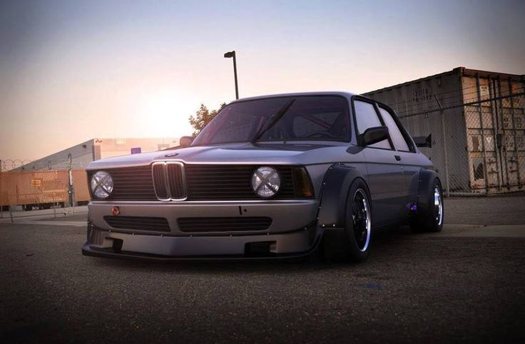 BMW E21 3 series grey widebody slammed