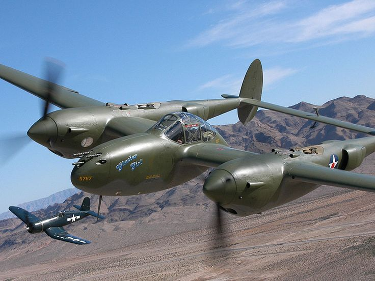 Lockheed P38 Lightning aircraft and a corsair. The P-38 was used most successfully in the Pacific Theater of Operations and the China-Burma-India Theater of Operations as the mount of America's top aces, Richard Bong (40 victories) and Thomas McGuire (38 victories). In the South West Pacific theater, the P-38 was the primary long-range fighter of United States Army Air Forces until the appearance of large numbers of P-51D Mustangs toward the end of the war.