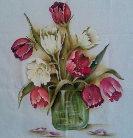 A Quadro - Acrílica - Tec. Pintura em Tecido - Vasos de Tulipas - 50 x 60.jpg :: Raquel Serra