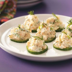 Cucumber Shrimp Appetizers Recipe -When my friend's husband needed lower-fat snacks, she served him this fresh-tasting shrimp spread. Cucumber slices are a fun and healthy alternative to crackers. —Patricia Kile, Elizabethtown, Pennsylvania