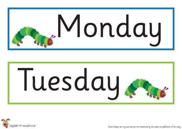 Teacher's Pet Displays » Hungry Caterpillar Days of the Week » FREE downloadable EYFS, KS1, KS2 classroom display and teaching aid resources » A Sparklebox alternative