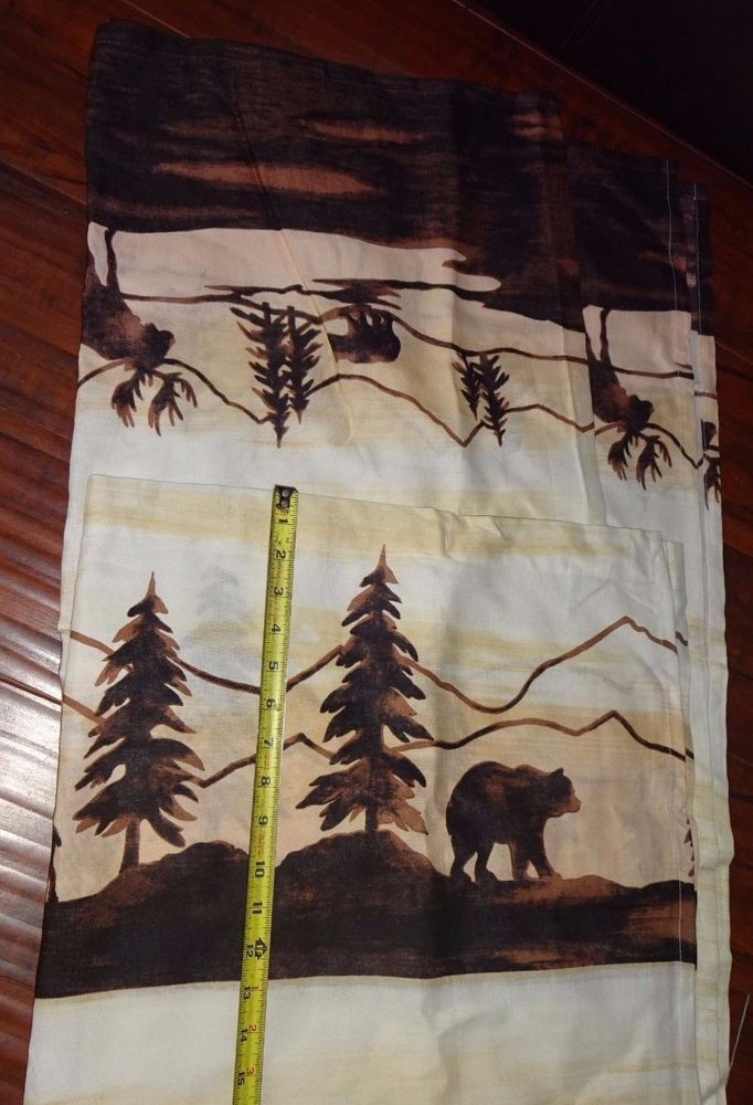 Mountains Bears Moose Woods Themed Fabric Decorative