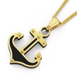 9ct Gold Two Tone Anchor Pendant