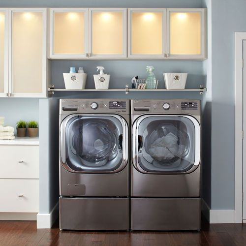 LG Mega Capacity 5.2 CuFt TurboWash™ Steam™ Washer 9.0CuFt Steam™ GAS Dryer with Pedestals in Graphite Steel | WM8000HVA, DLGX8001V, WDP5V