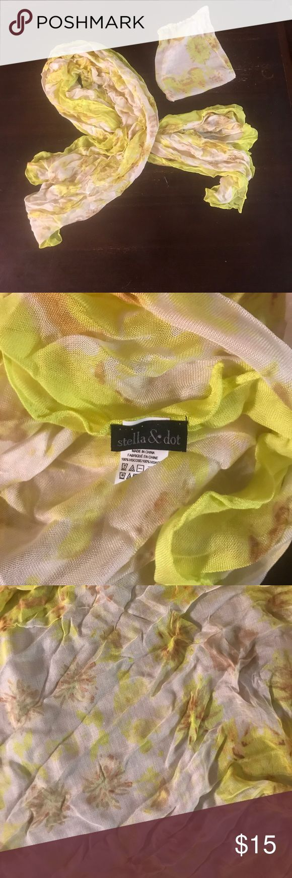 Stella & Dot Scarf Stella & Dot yellow floral print scarf and storage bag. Great condition and hardly worn. Stella & Dot Accessories Scarves & Wraps