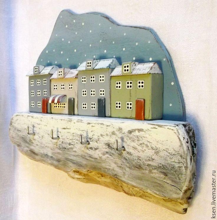 """Купить ключница """"Северная страна"""" - белый, зима, рождество, Снег, домики, городской пейзаж, миниатюра"""