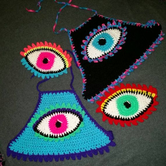 Customize your third eye crop top with stash pocket festival top/rave top/Coachella Burning Man Electric Forest Bonnaroo
