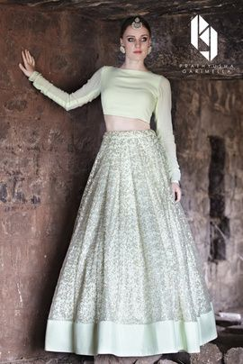 Light Lehengas - Pastel Green Closed Neck Blouse with Sequins Pastel Lehenga and Silk Border | WedMeGood #wedmegood #pastel #lehenga #light #green
