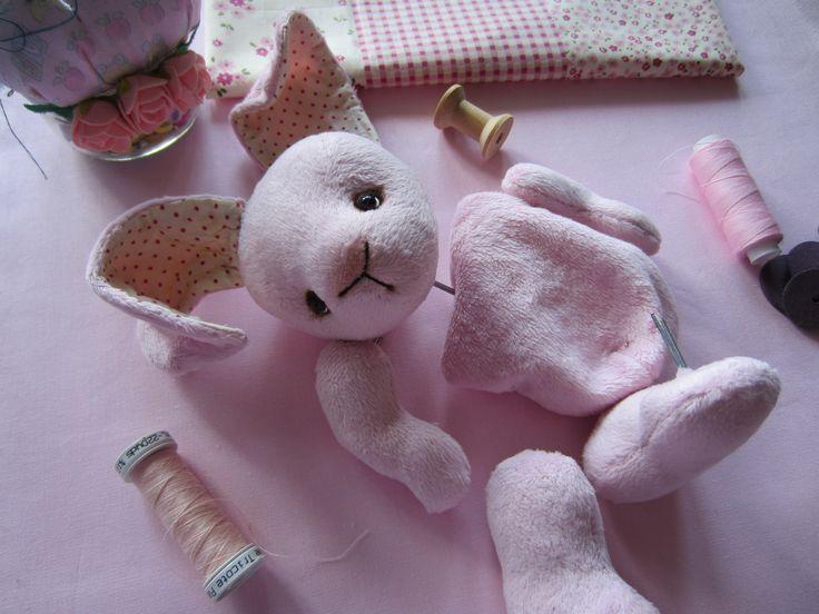 Зайка  из плюшика, розовый зайка, зайка тедди, кролик, моя работа, купить тедди кролика