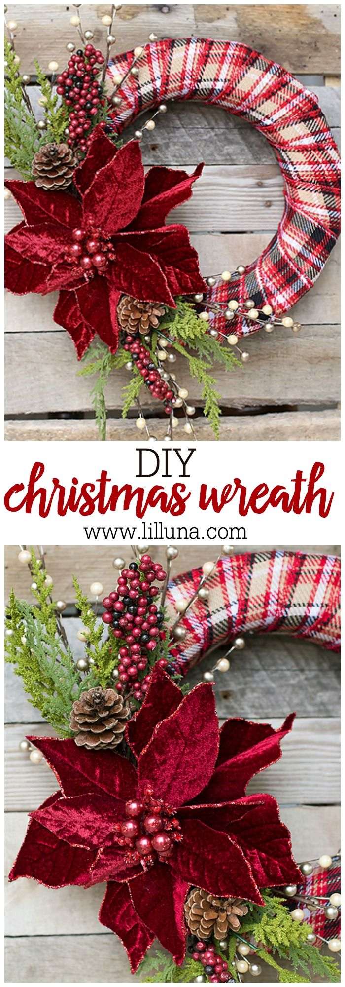 DIY Christmas Wreath - Get crafty with this beautiful and festive wreath!