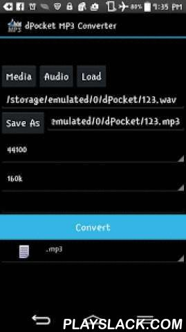 DPocket Mp3 Converter  Android App - playslack.com , Convert any audio file to Mp3 using a simple interface. This app uses ffmpeg for transcoding without a command line. FFmpeg allows you to change the sample and the bitrate of any track. By default, converted files will be stored on your SDcard in the 'dPocket' folder.wav to mp3ogg to mp3flac to mp3