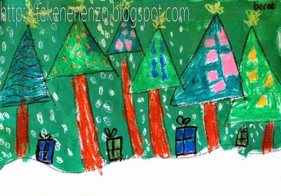 Tekenen en zo: Kerstbomenbos in de sneeuw